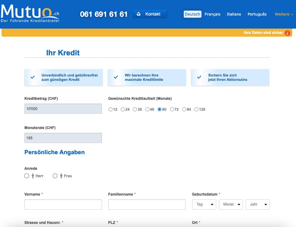 So Können Sie Einen Privatkredit Bei Der Mutuo AG Online Beantragen